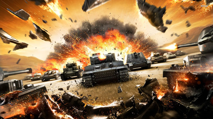 Explosive battle of tanks